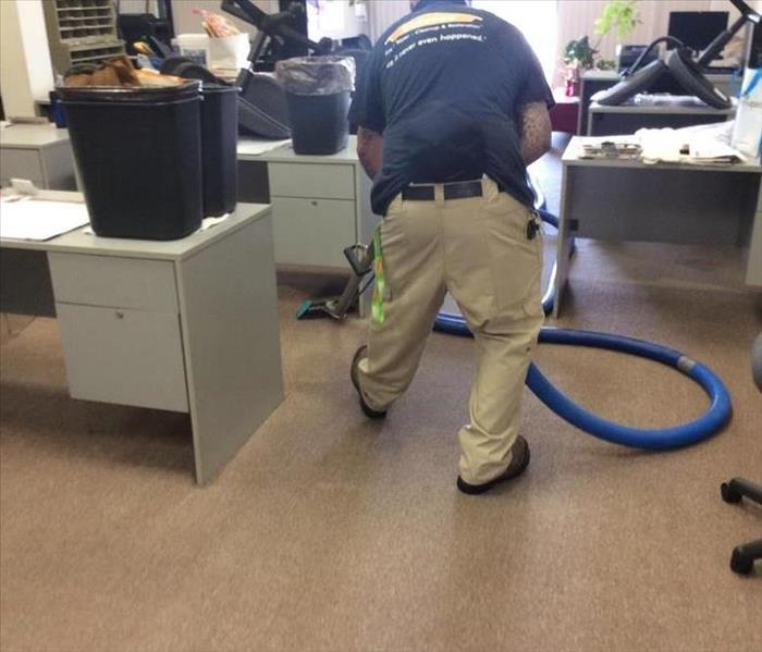 A flooded office space required water extraction by our technicians