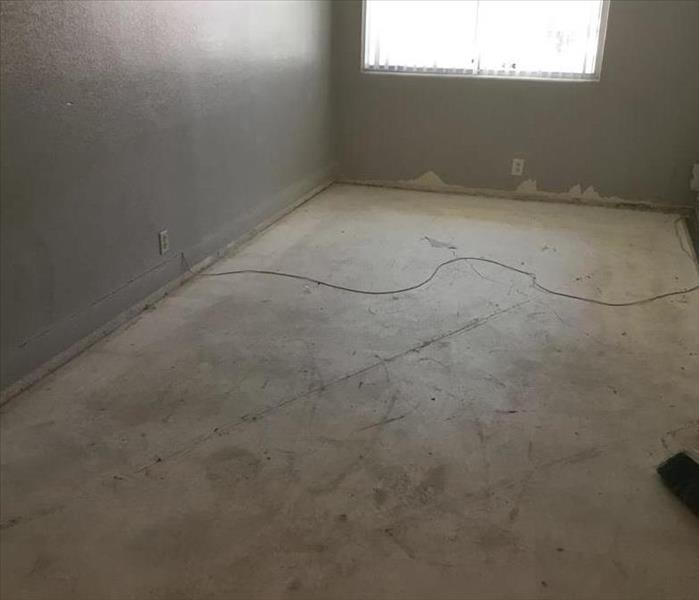 Baseboards in a condominium were removed to dry the wall space behind them