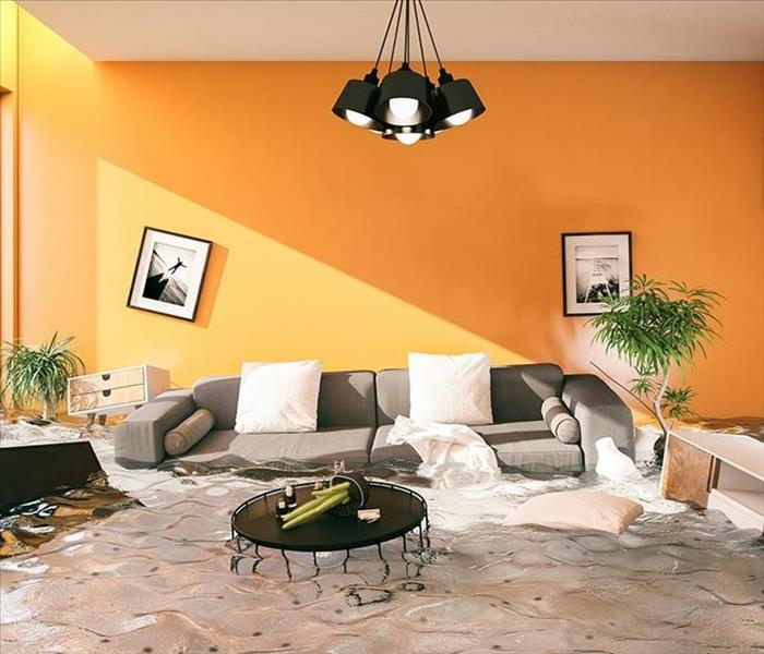 Water floods a bright orange living room full of black and white furniture.